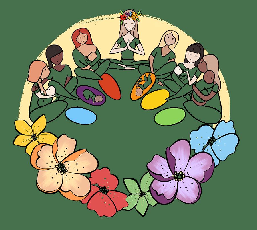 illustration-cercle maman bébés
